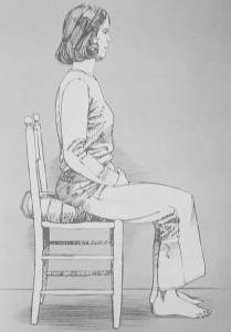 Illustration of woman meditating in chair