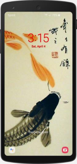 Lock screen on smartphone with salmon swimming upstream