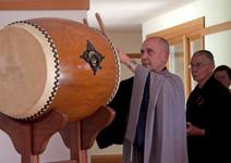 Roshi Bodhin Kjolhede playing drum