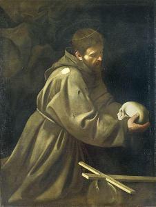 Caravaggio - Święty Franciszek medytujący