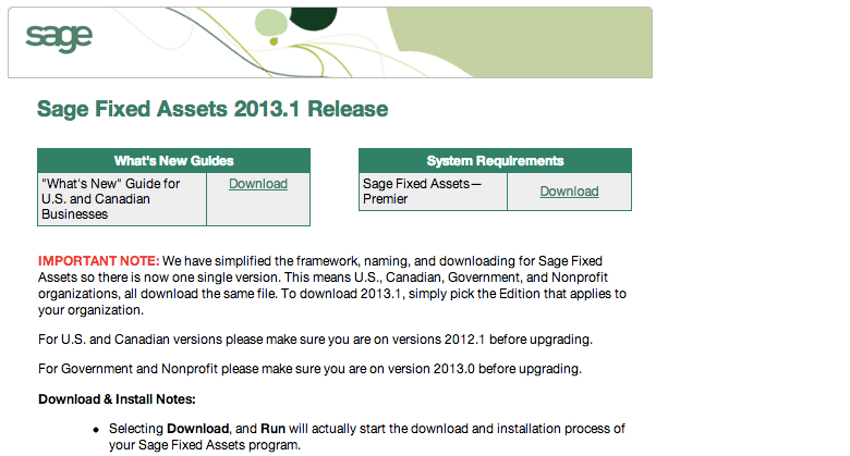 sage fixed assets 2013.1