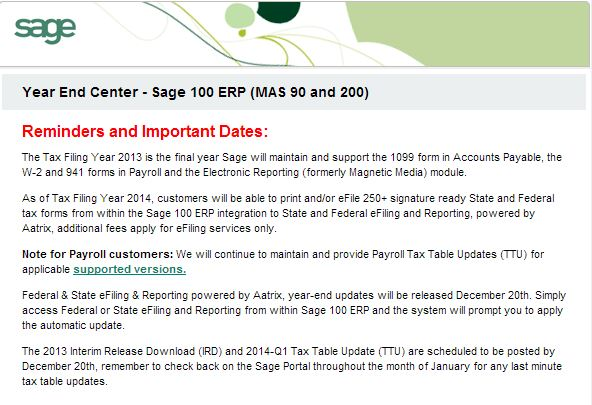 Sage 100 Erp Tax Tables And Ird For 2013 Due December 20 2013