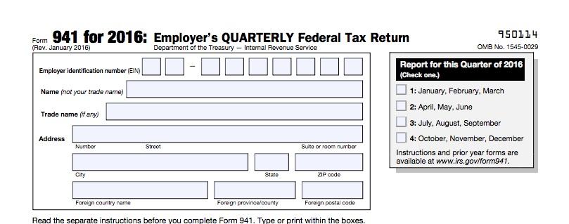 2016 Form 941 Ottodeemperor