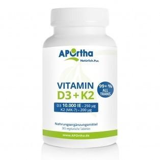 Vitamin D3 10.000 IE und Vitamin K2 MK7 200 µg