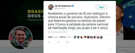 A afirmação foi feita no twitter do presidente – Foto/Reprodução