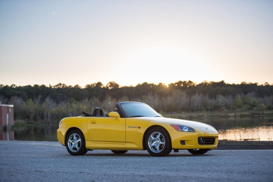 2001 S2000 in Spa Yellow Stock Wheels
