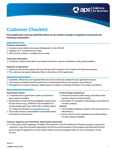 Customer Checklist