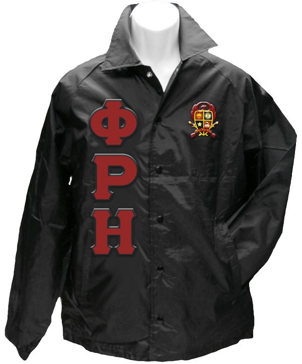 Phi Rho Eta Greek Letter Line Jacket With Crest Black
