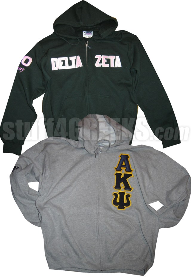 4e61ca8d47ab Custom Greek Zip Up Hoo Sweatshirt With Sewn On Letters