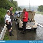 Heading home Tero's Saab 96 V6 custom blew a head gasket a few kilometers out of Spa.