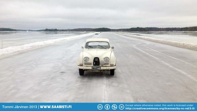Saab 96 1964 on ice road. A few months on it's going to be boats sailing here.