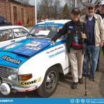 Simo, Jyrki, Tomi and Simo's Finnish Championship winning car of 1975.