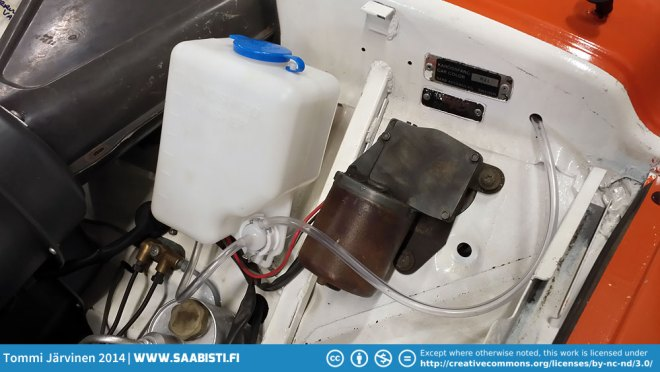 Washer tank and pump.