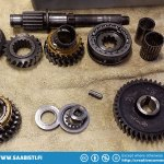 Side axle components (1st and 2nd gear). Thoroughly washed in petrol and then grease remover.