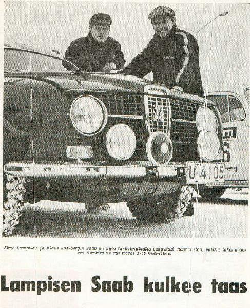 Simo Lampinen ja Klaus Sohlberg, Saab 96, Hankiralli. Vuosi ilmeisesti 1967.
