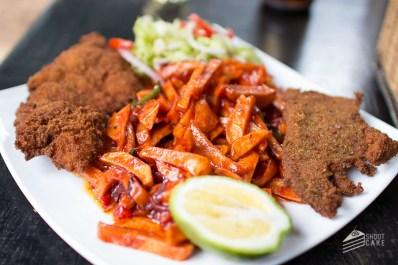 Fried Tilapia and Masala Chips at Ethiopian restaurant Waikiki