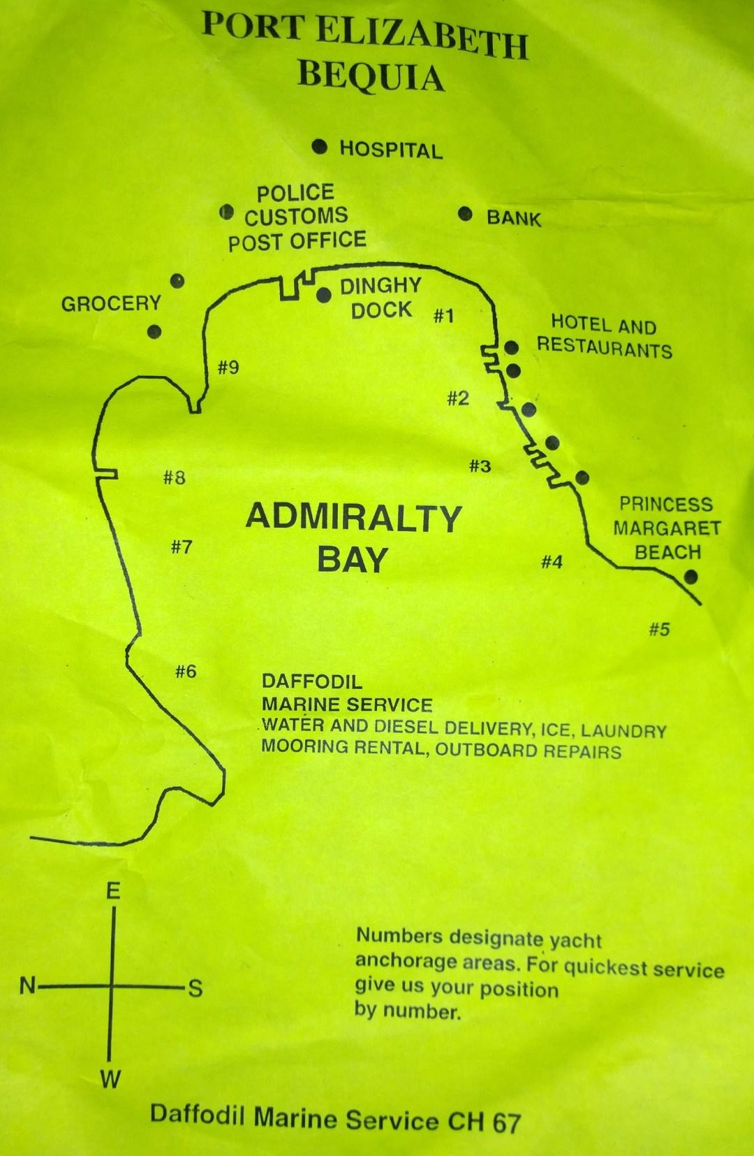 Kartta Admiralty Baysta, jossa yövyimme.