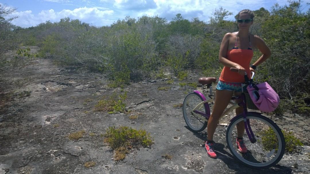 Polulla pinkin pyörän kanssa.