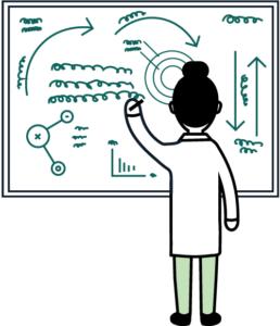 una mujer está parada frente a frente en una pizarra en la que dibuja un intrincado diagrama.  Imagen.