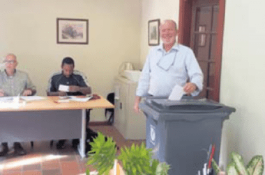 "President of the Chamber of Commerce and Industry of St. Eustatius and Saba Nicolaas ""Koos"" Sneek voting in the election."