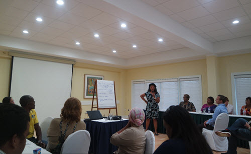 Director Natasha van den Heuvel-Rach of Expertise Center Education Care Bonaire [Expertisecentrum Onderwijszorg (EOZ) Bonaire] presents the elaboration of a group assignment during the round-table meeting on Bonaire (Photo RCN)