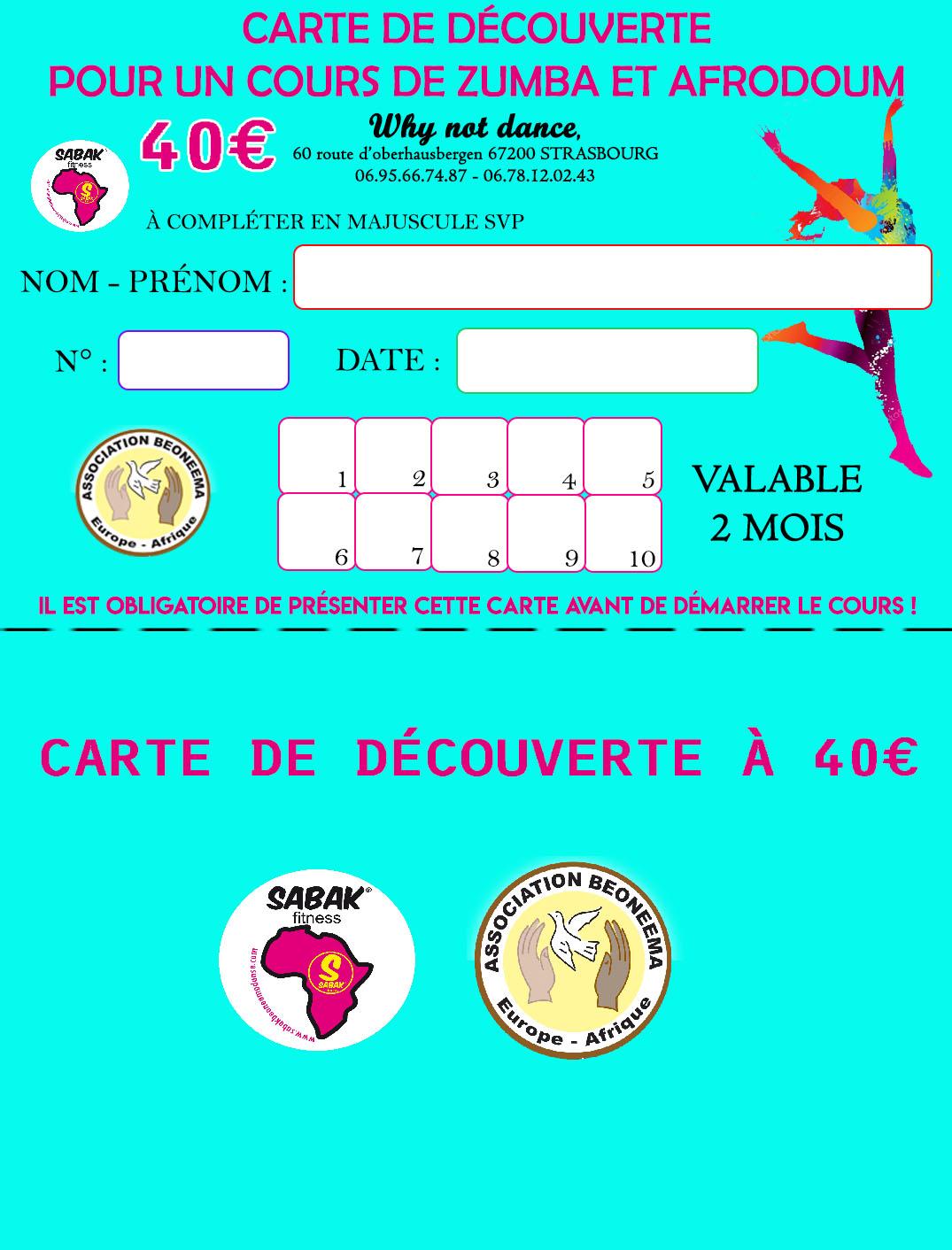 CARTE DE DÉCOUVERTE POUR UN COURS DE ZUMBA &/OU AFRO DOUM