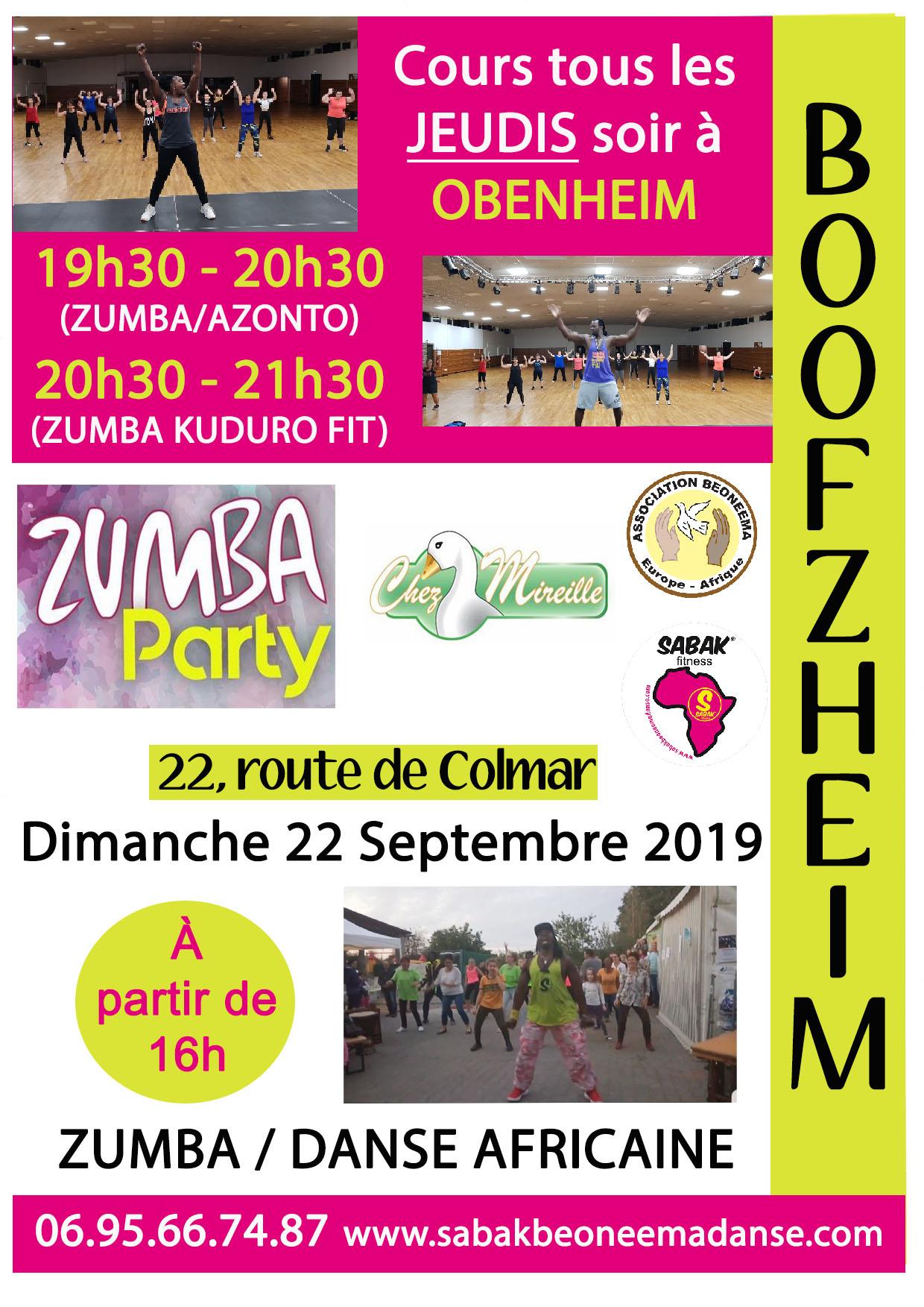 ZUMBA PARTY ET DANSE AFRICAINE À BOOFZHEIM CHEZ MIREILLE