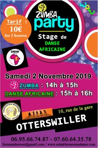 ZUMBA PARTY ET STAGE DE DANSE AFRICAINE À OTTERSWILLER