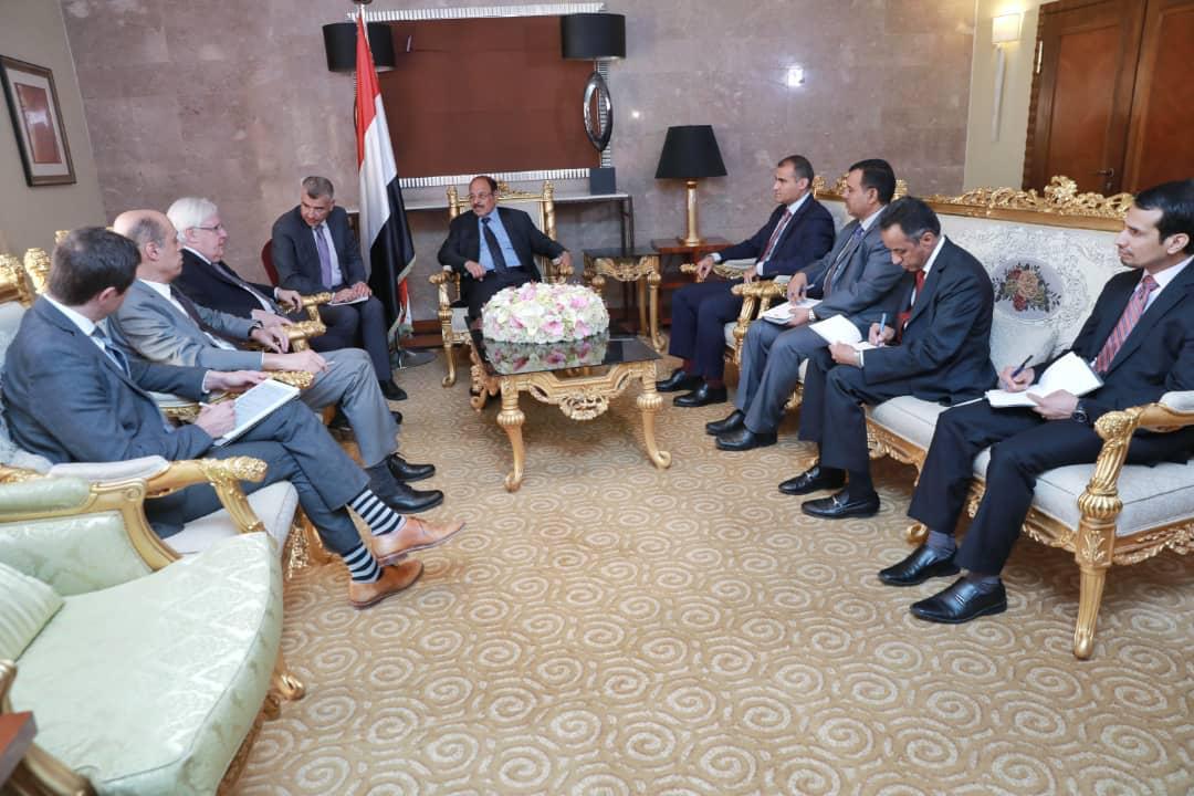 نائب رئيس الجمهورية يلتقي مبعوث الأمين العام للأمم المتحدة إلى اليمن