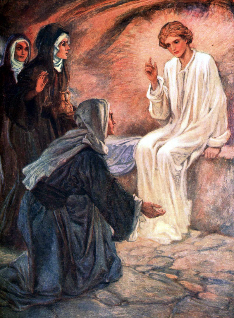 Image result for on entering the tomb they saw a young man sitting on the right side clothed in a white robe, art, pictures