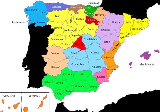Mapa con las provincias de España