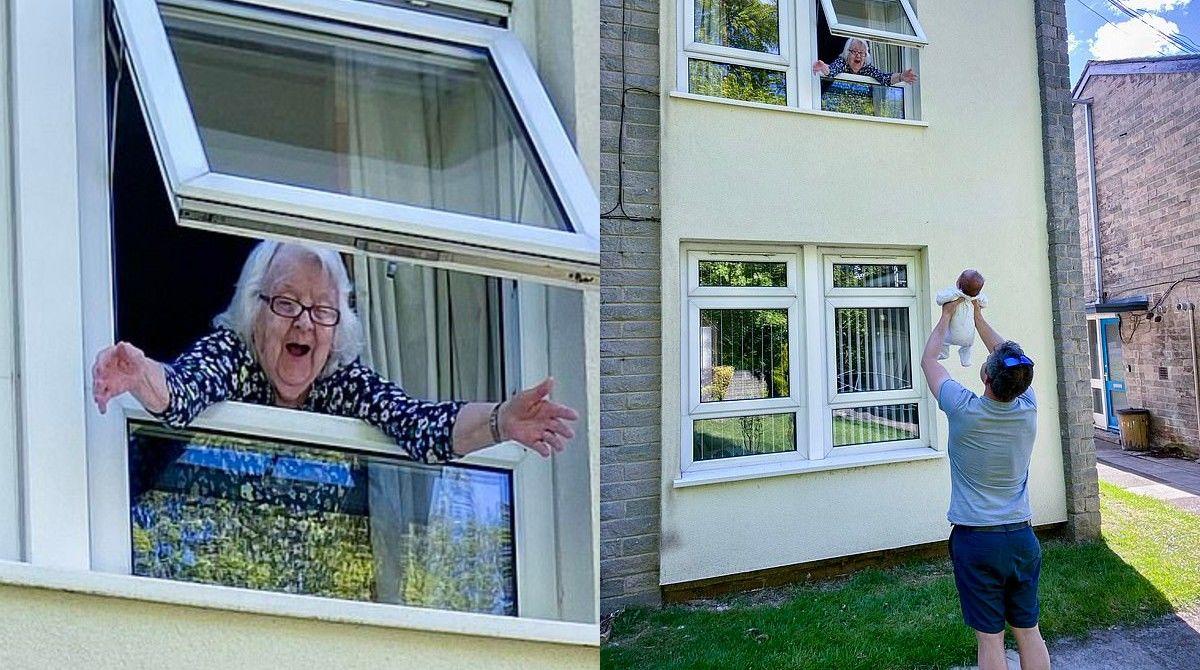 Bisavó conhece o bisneto pela janela e fica muito emocionada!
