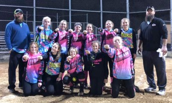 The 16U Fireballs went 12-2 for the fall 2019 season, only losing two games by one or two runs. These girls played against some 16U and 18U teams from the Kansas and Missouri areas. For the whole fall season, these girls scored 102 runs and only allowed 48 runs to be scored on them! The 16U Fireballs took first out of 12 teams in the 16U-18U Dicks Sporting Goods Gobbler Games in Independence, Missouri, held November 2 and 3. Pictured are FRONT ROW (L-R) Mikayla Simmons (Hiawatha High School), Taryn Ganstrom (Nemaha Central High School), Emma Bontrager (Holton High School), substitute Adison Williams (Hiawatha Middle School) and Chloe Clevenger (Doniphan West High School); BACK ROW (L-R) Coach Kyle Simmons, Cayley Grable (Troy High School), Hannah Twombly (Hiawatha High School), Grace Jones (Hiawatha High School), Brynn Williams (Hiawatha High School), Grace Morey (Hiawatha High School), Alexia Hayden (Sabetha Middle School) and Coach Mike Williams. Not pictured is Jadynn Doyle (Holton High School).