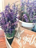 These fresh-cut lavender bouquets provide an aromatic decoration.