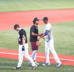 Teammates congratulate Samuel Mendez on being drafted by the Milwaukee Brewers.