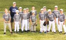 Members of the 10U Sabetha 3 baseball team are FRONT ROW (L-R) Emmett Kroll, Miles Gugelman, Elias Robinson, Bently Pryor, Thomas Richardson, Taylor Georg and Eli Rebant; BACK ROW (L-R) Coach Nick Richardson, Holt Smith, Kyson Kaeb, Tyson Detweiler, Flint Lowdermilk and Colton Renyer. Not pictured are Coaches Kurt Detweiler, Geoffrey Renyer, David Rebant, Darin Georg and Chris Kroll. The team ended its regular season with a 7-2 record.