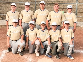 Members of the 12U Sabetha Ribeyes baseball team are FRONT ROW (L-R) Logan Ploeger, Lincoln Menold, Connor Wedel, Jackson Jacobs and Gavin Wedel; BACK ROW (L-R) Jayce Rebant, Nathan Smith, Camden Wittwer, Holden Edelman and Gavin Spellmeier.