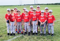 Members of the 8U Sabetha Red baseball team are FRONT ROW (L-R) JJ Sargent, Gabriel Hurts, Max Wedel, Alton Hartter, Owen Scoby and Isaac Gudenkauf; BACK ROW (L-R) Will Hartter, Fenton Keim, Aiden Lierz, Henry Enneking, Chase Reynolds and Abram Schuette. Not pictured are Max Boldra and Coaches Jared Hartter, Wes Hurts, Eric Scoby, Daniel Keim, Ryan Lierz and Ben Glace.