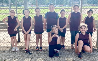 Members of the 8U Sabetha Maroon softball team are FRONT ROW (L-R) Madelynn Papa and Karli Deters; BACK ROW (L-R) Sophia Tyler, Brystol Jensen, Isabella Tangeman, Kaedyn Meyer, Raelie Niehues, Elizabeth Huffman and Elsie Ploeger. Not pictured are Grace Donahou, Staria Smith, Malaeny Jackman and Lillie Otto.
