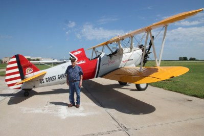 Kenny Chase is honored by Dream Flights with a ride in a Boeing Stearman biplane on Thursday, August 26.