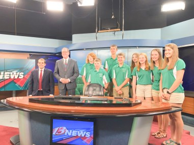 Nemaha County 4-H Ambassadors join the WIBW crew to talk about the Nemaha County fair. Pictured are FRONT ROW (L-R) Brandon Rogers, Ryan Uphaus, Katie Tangeman, Monica Stallbaumer and Leah Renyer; BACK ROW (L-R) John Langill, Davis Rokey and Susannah Walker.