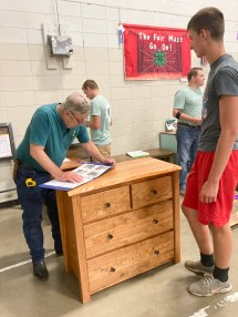 Davis Rokey has this woodworking project judged at the Nemaha County Fair.