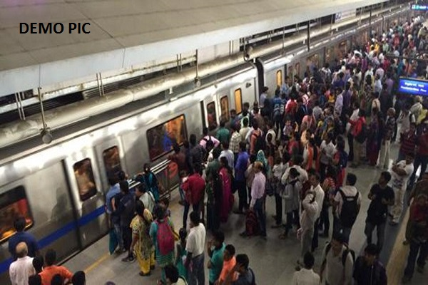 Demonstration against the rise in Metro fares at Rajiv Chowk station
