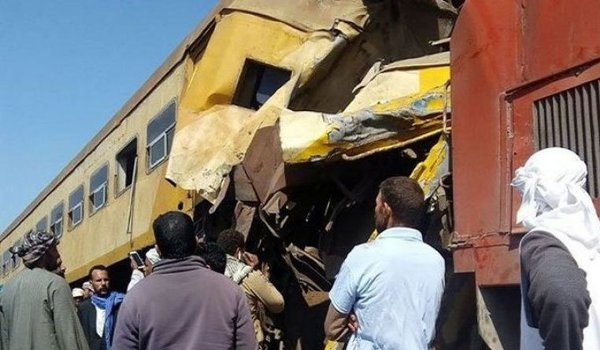 16 killed, 40 injured in a train collision in Egypt