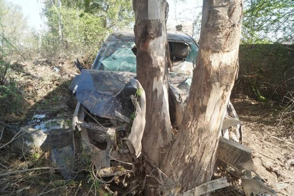 Car collide with tree