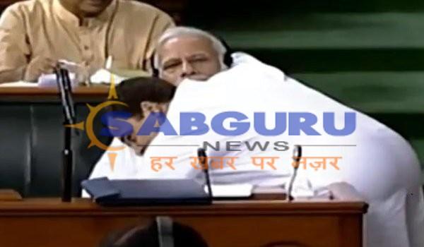 no-confidence motion in parliament : rahul gandhi hugs pm modi