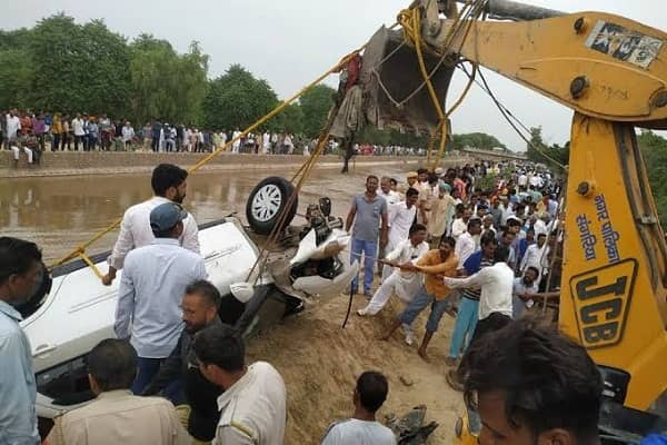 Hanumangarh Four people of same family die after car falls into canal