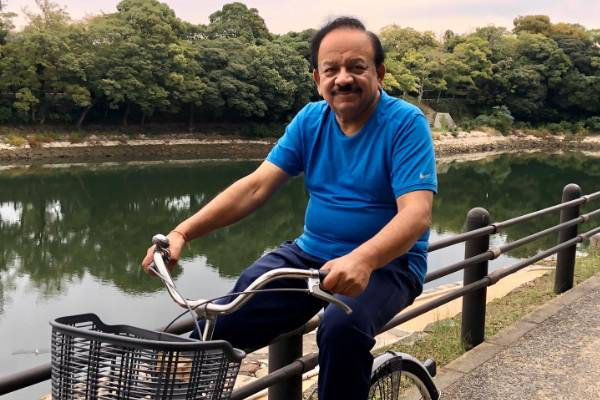 Welfare Minister Harsh Vardhan rides a bicycle in Japan