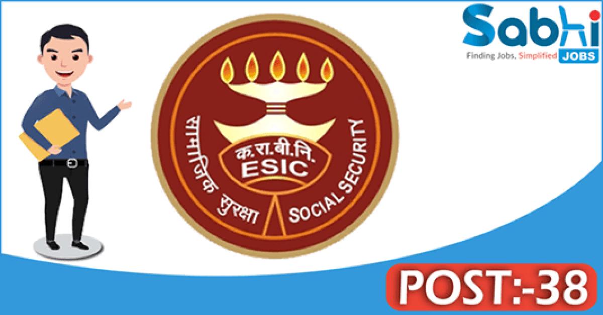 ESIC Kolkata recruitment 2018 notification 38 Senior Resident