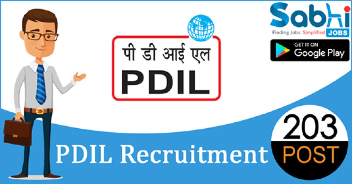 PDIL recruitment 203 Sr. Engineer/Sr. Executive